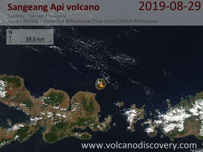 Satellite image of Sangeang Api volcano on 30 Aug 2019