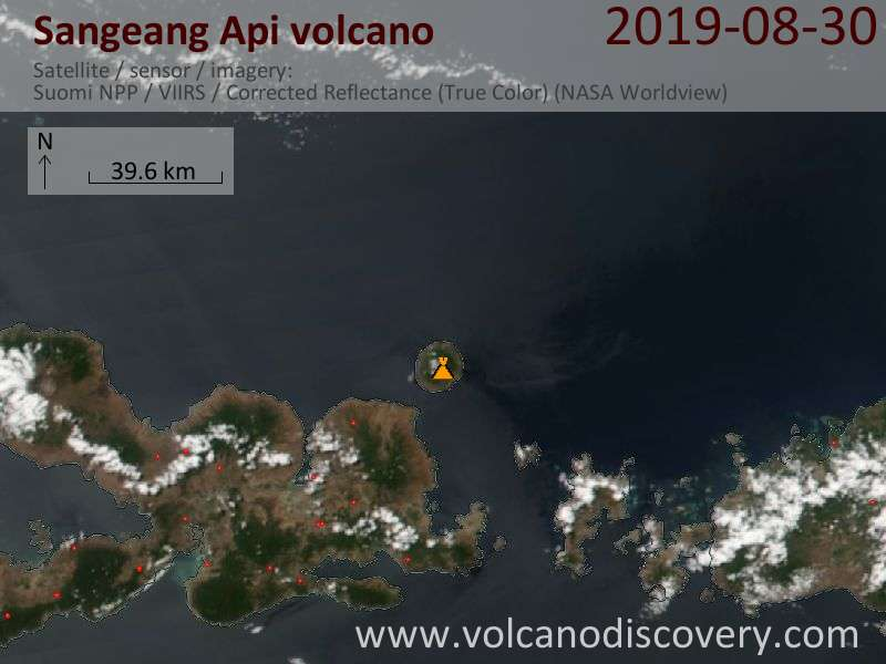 Satellitenbild des Sangeang Api Vulkans am 31 Aug 2019
