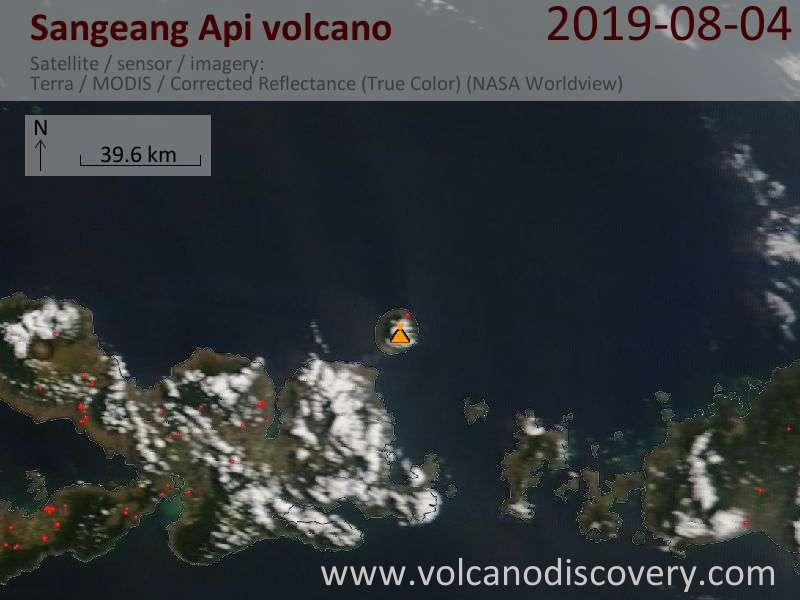 Satellite image of Sangeang Api volcano on  4 Aug 2019