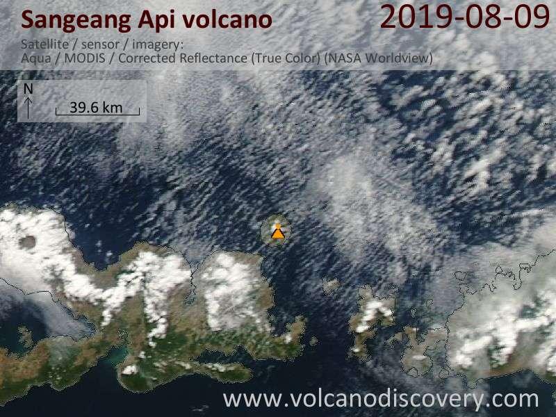 Satellite image of Sangeang Api volcano on  9 Aug 2019