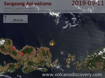 Satellite image of Sangeang Api volcano on 11 Sep 2019