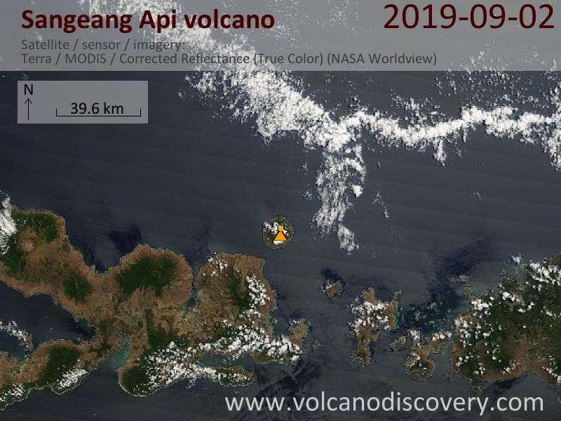 Satellite image of Sangeang Api volcano on  2 Sep 2019