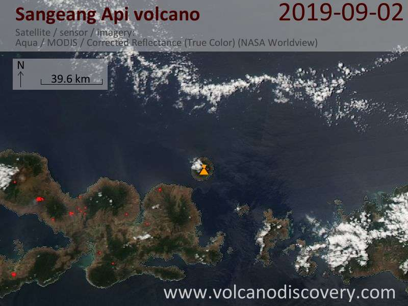 Satellite image of Sangeang Api volcano on  3 Sep 2019