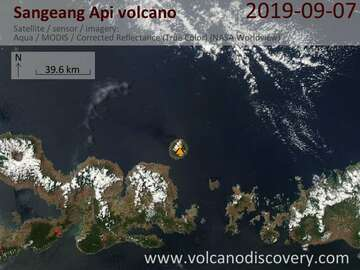 Satellite image of Sangeang Api volcano on  7 Sep 2019