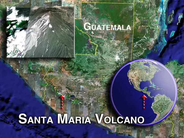 Image satellite du volcan Santa Maria (c) Google Earth View