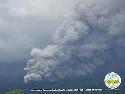 Pyroclastic flow from Santiaguito last Wednesday (INSIVUMEH)