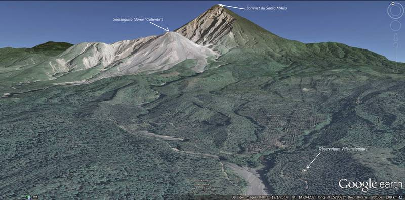 Location of the volcano observatory at Santiaguito (image: Culture Volcan / google earth)