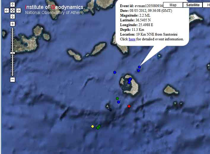 Earthquakes at Santorini 8-9 May 2012 (Natl. Observatory Athens)