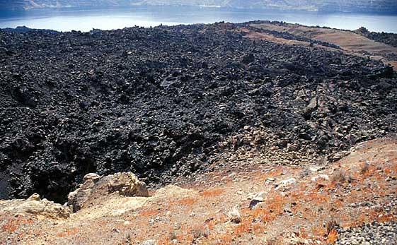 The blocky lava dome (Liatsikas lavas) from the 1950 eruption on Nea Kameni, the (so-far) youngest rocks of Greece.