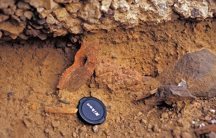 Numerous pottery fragments are found in the Minoan soil near the site