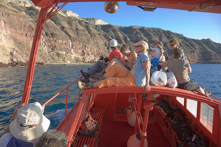 Boat tour in the Santorini caldera