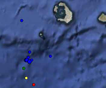 Earthquake swarm between 28 and 30 April southwest of Santorini (Inst. of Geodynamics)