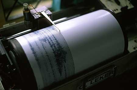 Seismograph im Observatorium des Semeru Vulkans