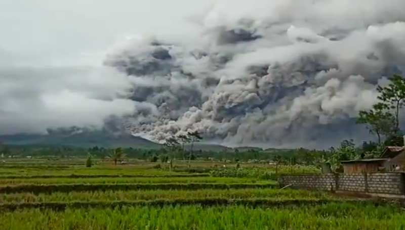 View of the pyroclastic flow at Semeru volcano this afternoon (image: Pasek Made / facebook)
