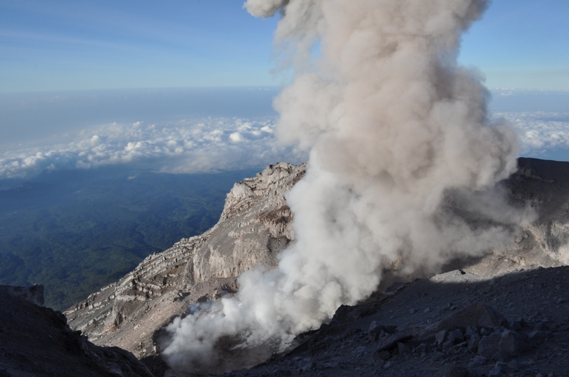 View of Semeru's crater with a lava dome on 1 Sep 2011