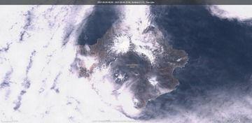 Volcán Semisopochnoi visible desde el satélite el 4 de mayo (imagen: Sentinel 2)