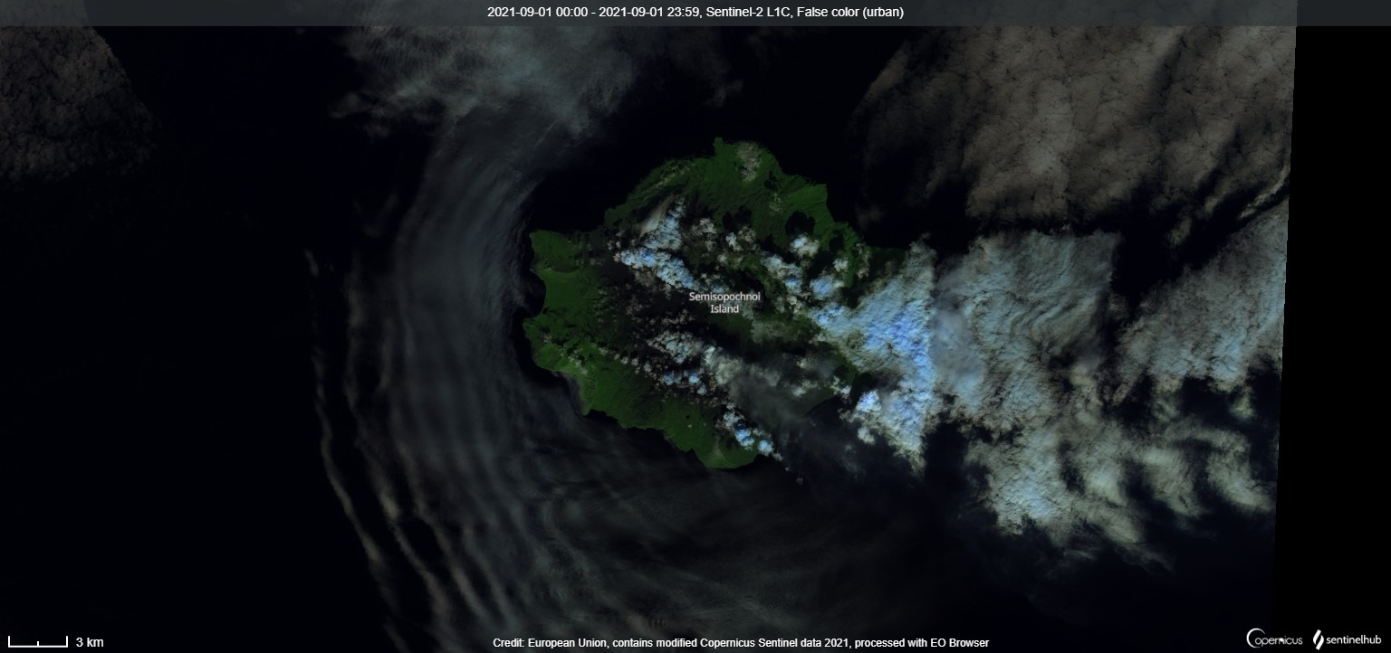 Low-level eruptive activity continues from the Mount Cerberus crater (image: Sentinel 2)