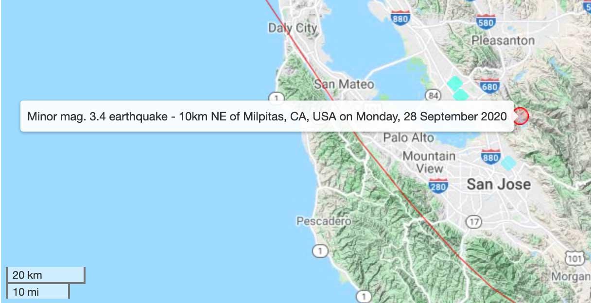 Location of last evening's small felt quake near San Jose, California
