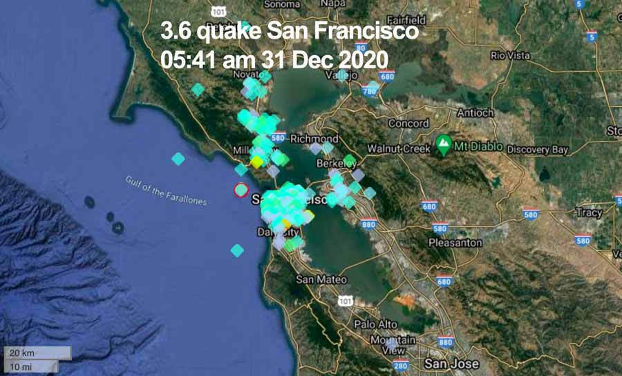 Location of users reporting this morning's quake in San Francisco