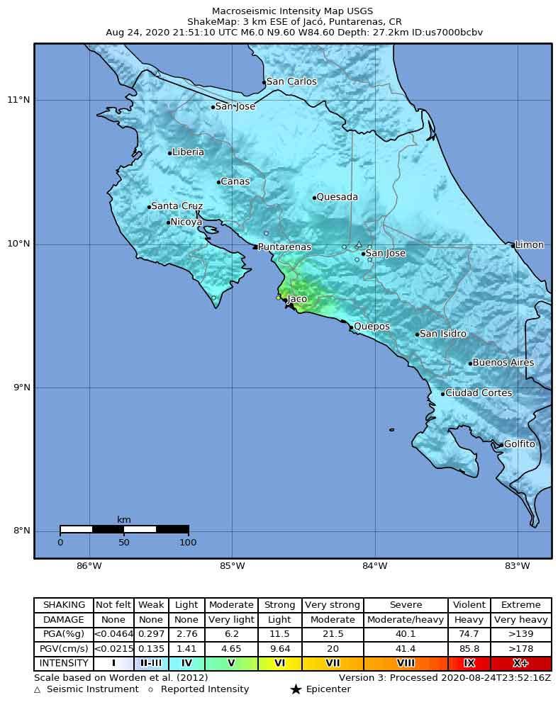 Shake map of last evening's quake in Costa Rica