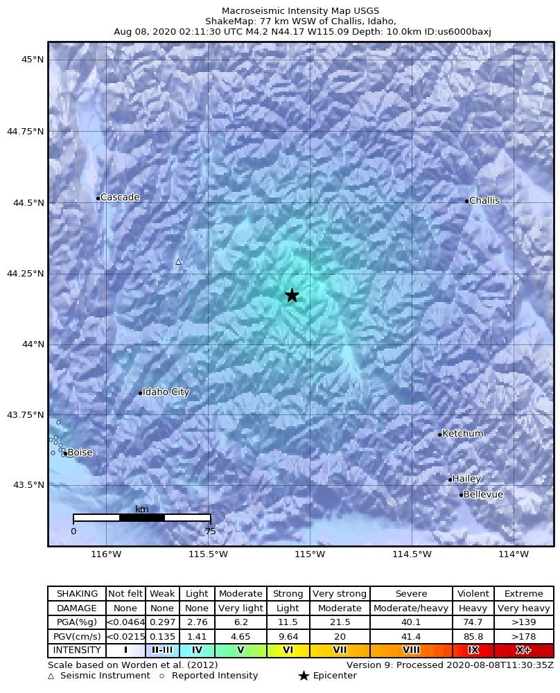 Shakemap of last night's quake in Idaho (image: USGS)