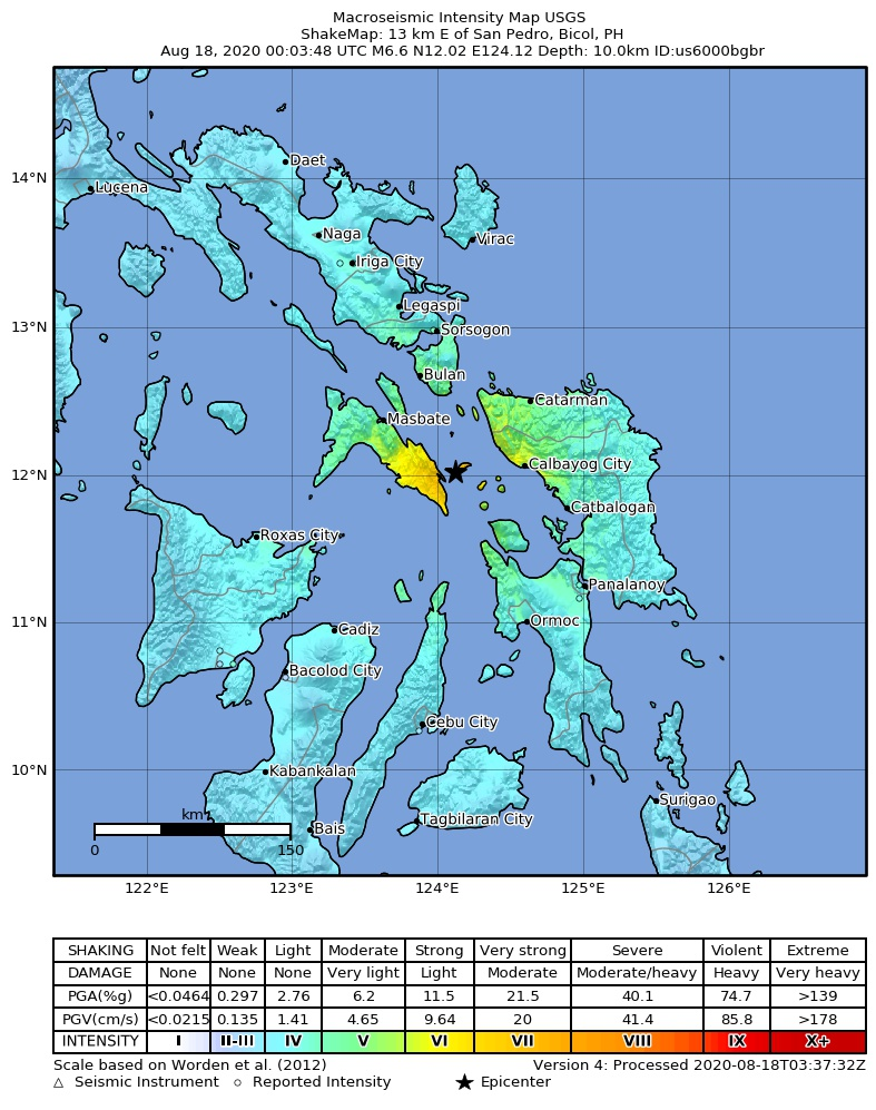 Shakemap of this morning's quake in the Philippines