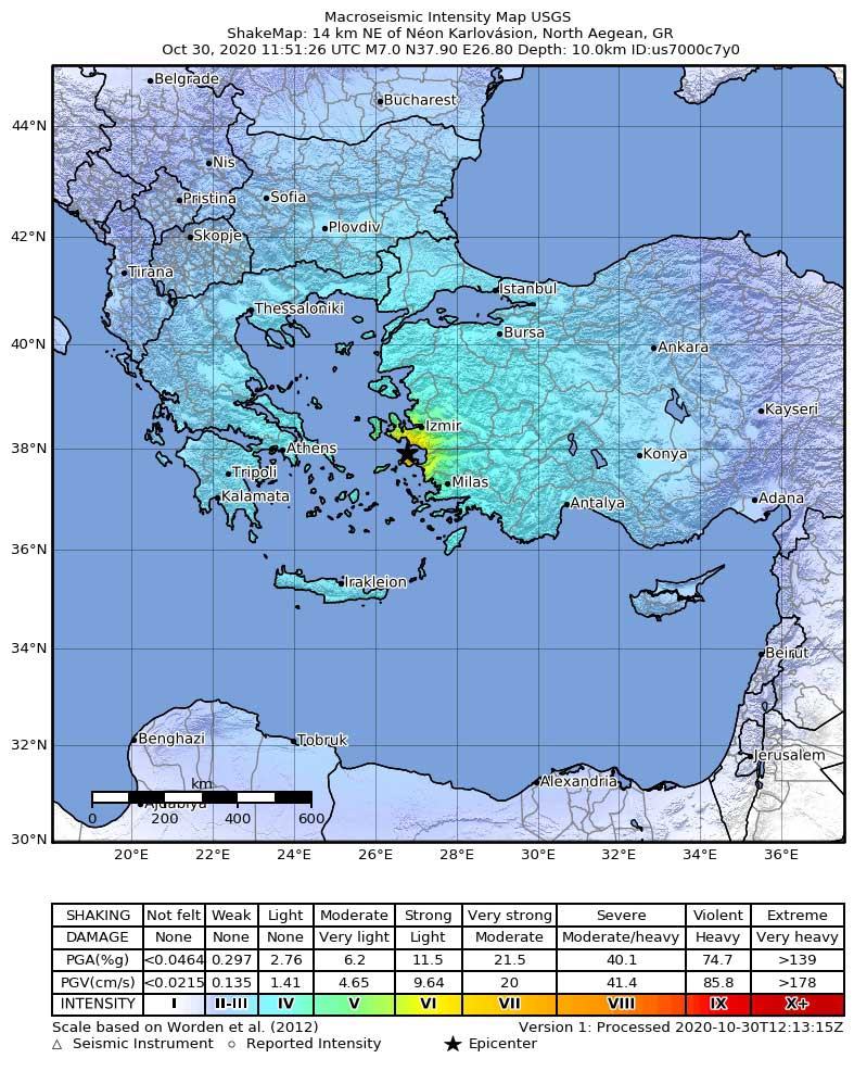 Map showing intensity of ground shaking (source: USGS)