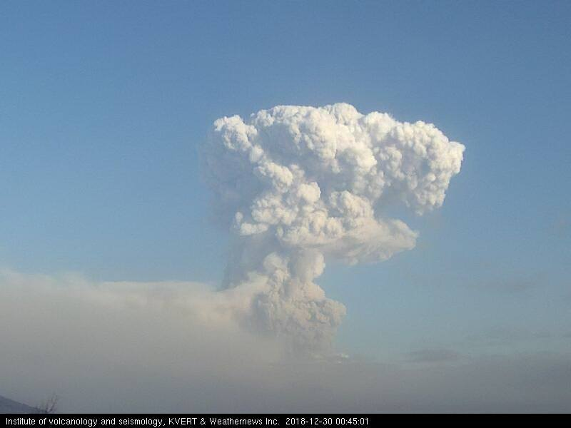 This morning's explosion at Shiveluch volcano seen on the KVERT webcam