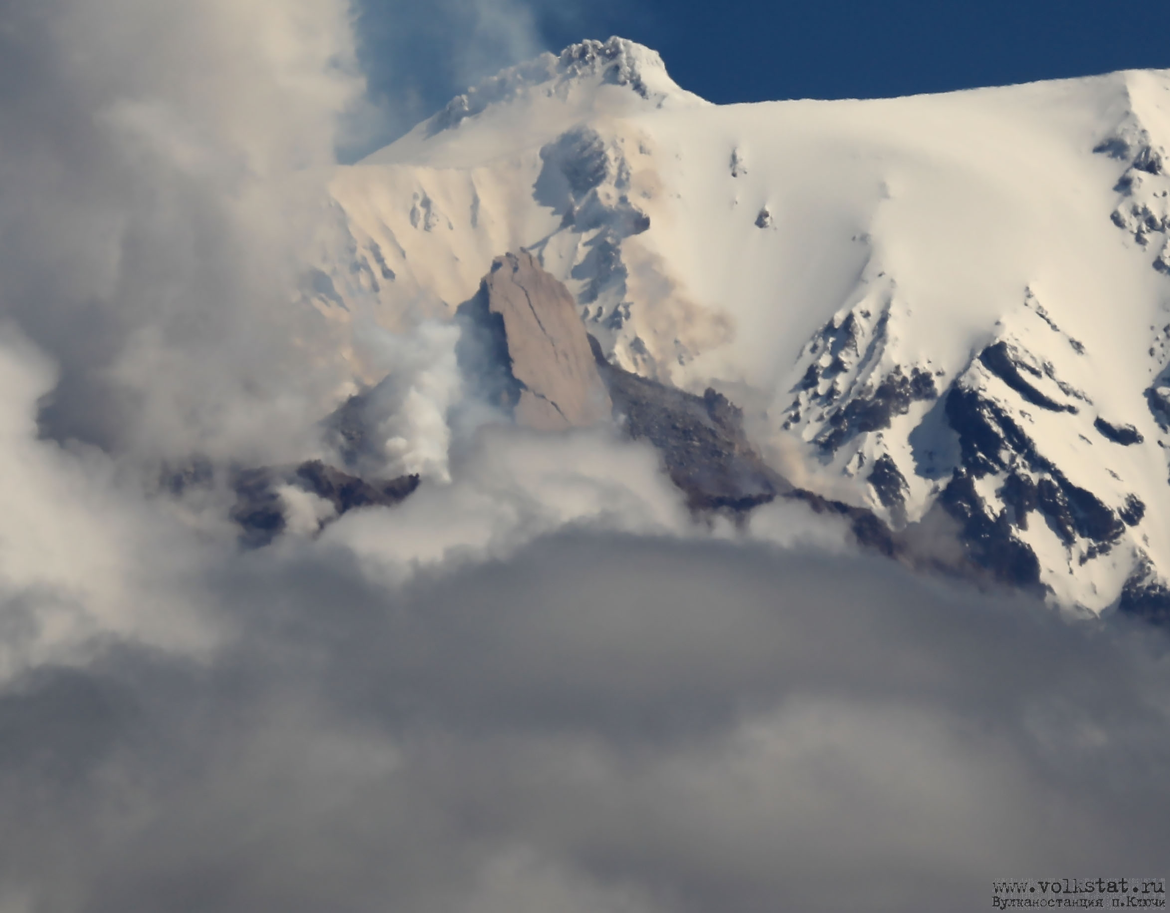 The lava dome's cracks indicates its instability (image: volkstat.ru)