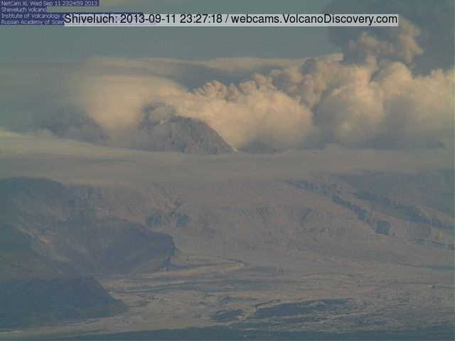 Explosion from Shiveluch volcano this morning (KVERT webcam)