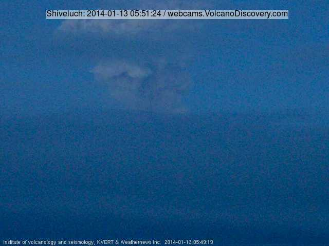 Ash plume from Shiveluch this morning (KVERT webcam)