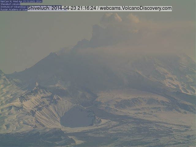 Steaming and ash emission from Shiveluch this morning (KVERT webcam)
