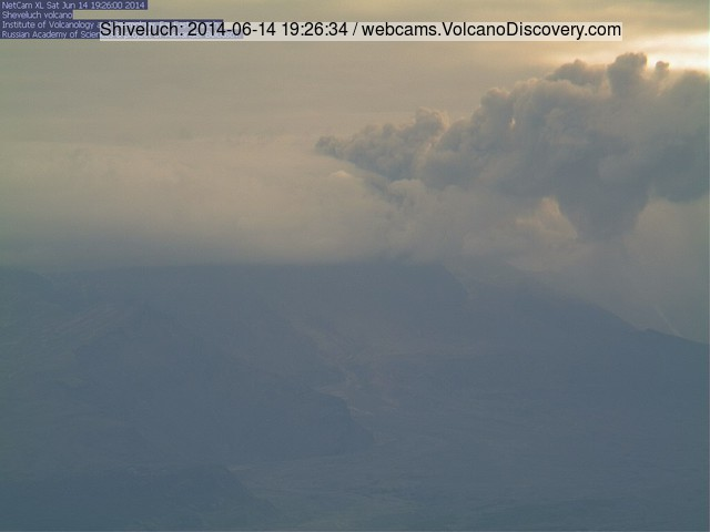 Ash emission at Shiveluch volcano on 14 June