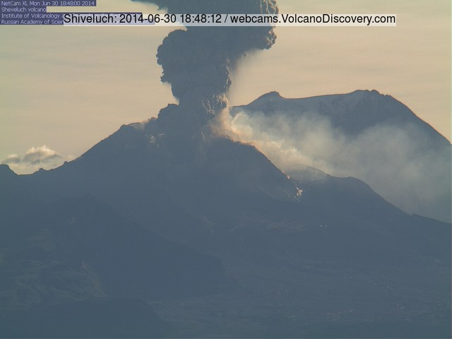 Explosion at Shiveluch volcano yesterday evening (KVERT webcam)