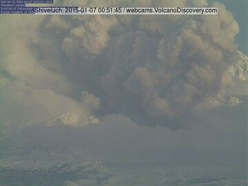 Ash plume from pyroclastic flows during the eruption at Shiveluch