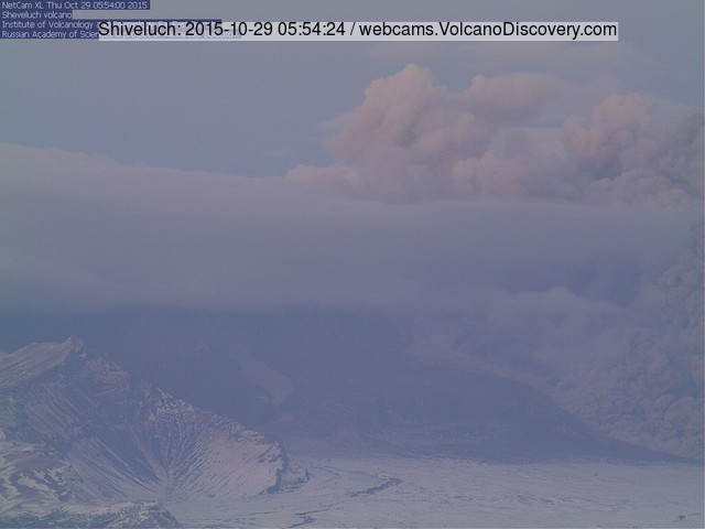 The pyroclastic flow (lower right) and ash plume from Shiveluch volcano yesterday morning