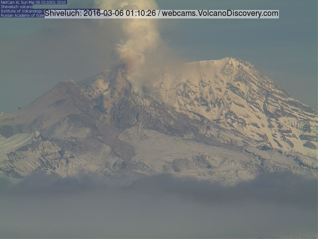 Small pyroclatic flow at Shiveluch this morning (KVERT webcam)
