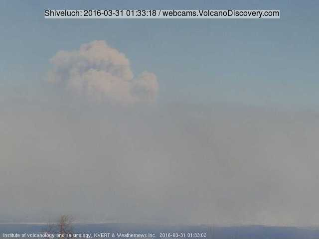 Ash plume from Shiveluch volcano last evening