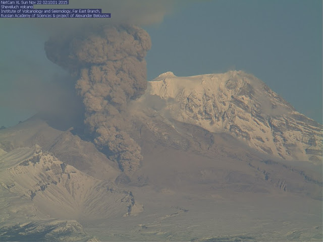 Small pyroclastic flow into the southwestern corridor of the active lava dome of Shiveluch