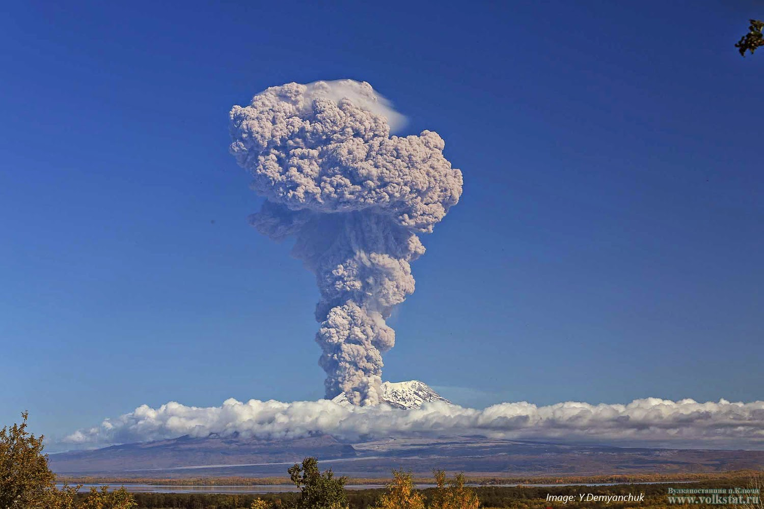 Eruption plume from Shiveluch's explosion on 24 Sep (photo: Y. Demyanchuk/Volkstat.ru)