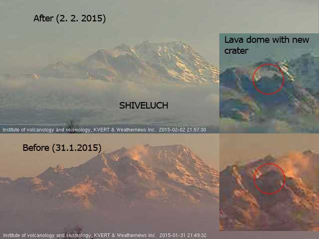 Comparison of Shiveluch's lava dome before and after the 1 Feb explosion, which left a large crater