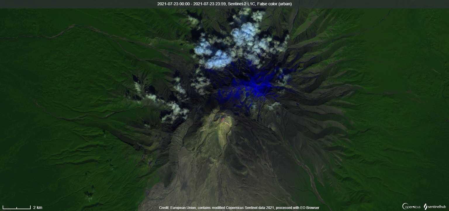 Thermal anomaly continued to detect at the lava dome Dolphin-2 in the satellite image on 23 July, two days before its collapse (image: Sentinel 2)