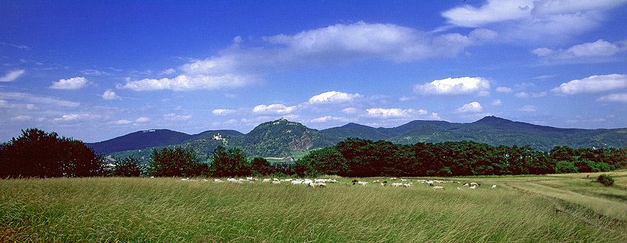 Panorama der Siebengebirge-Vulkane vom Rodderberg-Vulkan bei Bonn gesehen.