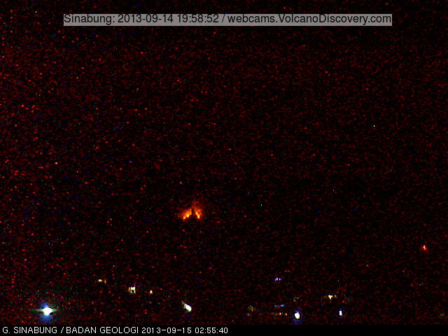 Webcam image showing the lava glow (likely from a new lava flow or impacts from explosions) starting at 02:55 local time this morning (VSI webcam)