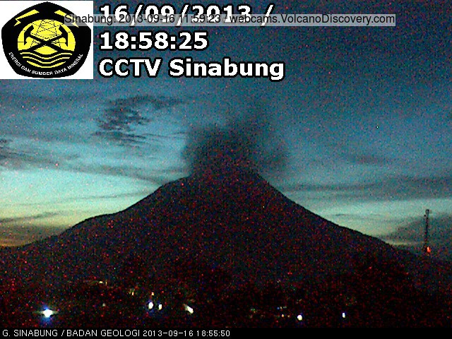 Degassing from Sinabung today