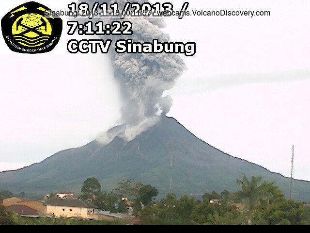 Explosie in Sinabung vanochtend