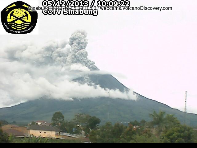 Gematigde as emissie van Sinabung deze ochtend