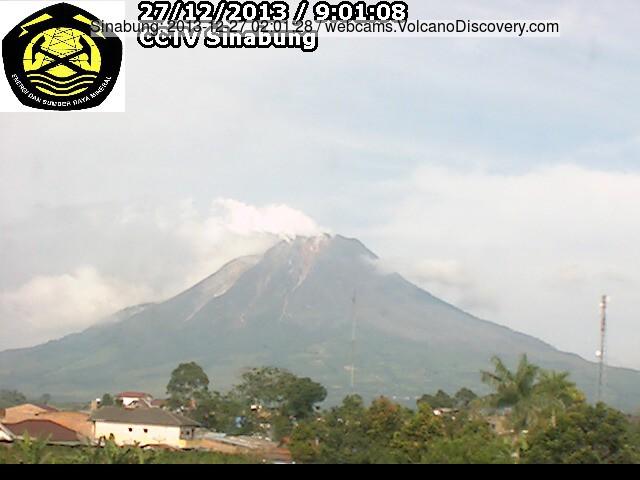 Steaming Sinabung volcano this morning