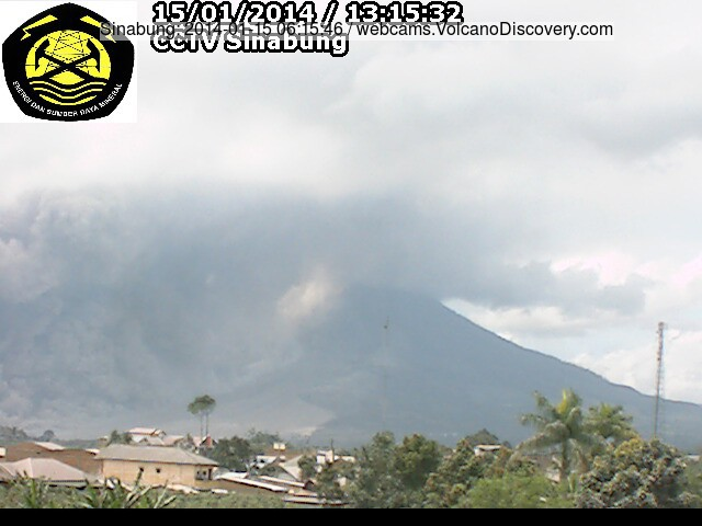 Large pyroclastic flow from Sinabung volcano today around noon