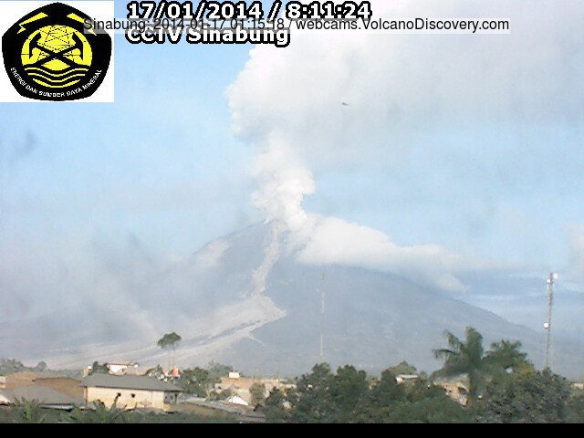 Intense steaming from Sinabung this morning (VSI webcam)